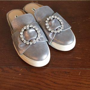 Karl Lagerfeld mules size 7.5 in metallic silver